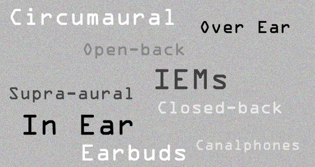 Different types of headphones